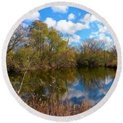 Reflective Cloudy Palatine, Il,  Library Pond Round Beach Towel