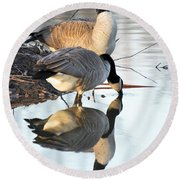 Reflective Geese Round Beach Towel