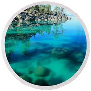 Reflective Liquid Dreams Round Beach Towel