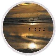 Reflective Sunset Round Beach Towel