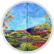 Refresh And Renew As A Diptych Orientation 1 Round Beach Towel
