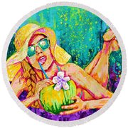 Moment In Paradise, Vacation Painting Round Beach Towel
