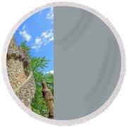 Regaleira Tower Sintra Round Beach Towel