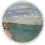 Regatta At Sainte Adresse, 1867  Round Beach Towel