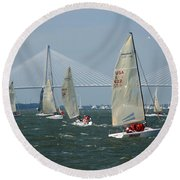 Regatta In Charleston Harbor Round Beach Towel