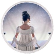 Regency Woman Looking At The Stars In The Night Sky  Round Beach Towel