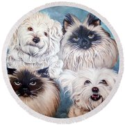 Reigning Cats N Dogs Round Beach Towel