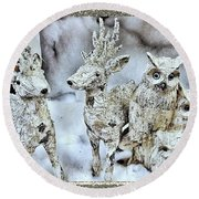 Reindeer And Owls Holiday Celebration 2 Round Beach Towel