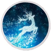 Reindeer Stars Round Beach Towel