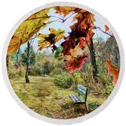 Relax And Watch The Leaves Turn Round Beach Towel