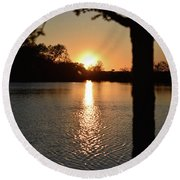 Relax By The Lake Round Beach Towel