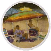 Relaxing At The Lake Round Beach Towel