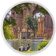 Relaxing At The Palace Round Beach Towel by Kate Brown