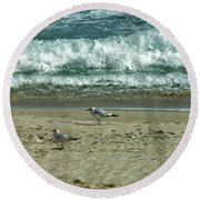 Relaxing By The Ocean Round Beach Towel