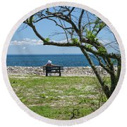 Relaxing By The Shore Round Beach Towel