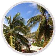 Relaxing On The Beach. Pinel Island Saint Martin Caribbean Round Beach Towel