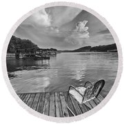Relaxing On The Dock Round Beach Towel