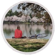 Relaxing Under Cherry Blossoms Round Beach Towel