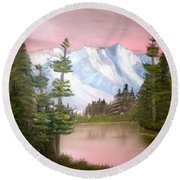 Relections In Pink Round Beach Towel