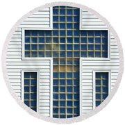 Religion Window Cross Round Beach Towel