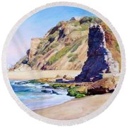 Remains Of Ancient Constructions On Seacoast  Round Beach Towel