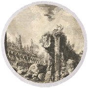 Remains Of The Temple Of Castor And Pollux Round Beach Towel