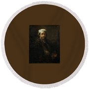 Rembrandt At The Easel Rembrandt Harmenszoon Van Rijn Round Beach Towel