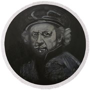Rembrandt Black And White Round Beach Towel