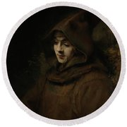Rembrandt's Son Titus In A Monk's Habit Round Beach Towel