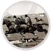 Remington: Native American Village Round Beach Towel