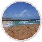 Remote Daimari Beach With Waves Rolling Ashore Round Beach Towel