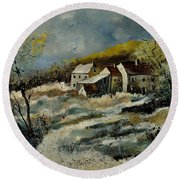 Remote Houses In The Ardennes  Round Beach Towel