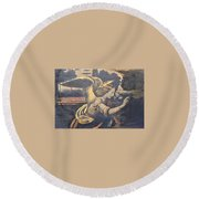 Ren Lady With Wings Round Beach Towel