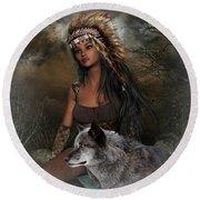 Rena Indian Warrior Princess Round Beach Towel
