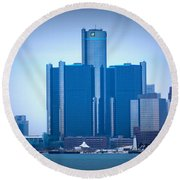 Gm Renaissance Center In Downtown Detroit, Michigan Round Beach Towel