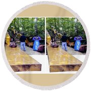 Renaissance Slide - Gently Cross Your Eyes And Focus On The Middle Image Round Beach Towel