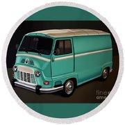 Renault Estafette 1959 Painting Round Beach Towel