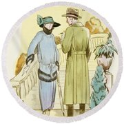 Rendezvous, Outfit And Ulster Overcoat  Round Beach Towel