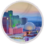 Reno At Sunset Round Beach Towel