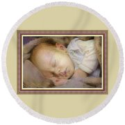 Renoircalia Catus 1 No. 2 - Adorable Baby L B With Decorative Ornate Printed Frame. Round Beach Towel