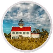 Renovated East Point Lighthouse Round Beach Towel