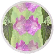Repeated Morning Glories Round Beach Towel