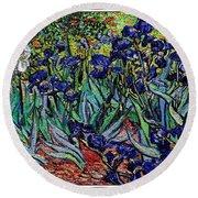 replica of Van Gogh irises Round Beach Towel