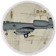 Republic A-10 Thunderbolt II - Profile Art Round Beach Towel