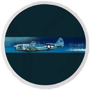 Republic P-47n Thunderbolt Round Beach Towel