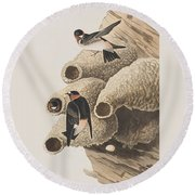 Republican Or Cliff Swallow Round Beach Towel