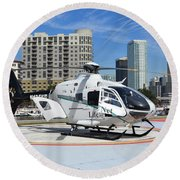 Rescue Helocopter Round Beach Towel