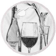 Reserved Table For One In Black And White Round Beach Towel