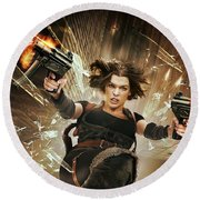 Resident Evil Afterlife Round Beach Towel