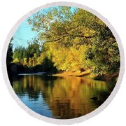 Yamhill River Reflections Round Beach Towel